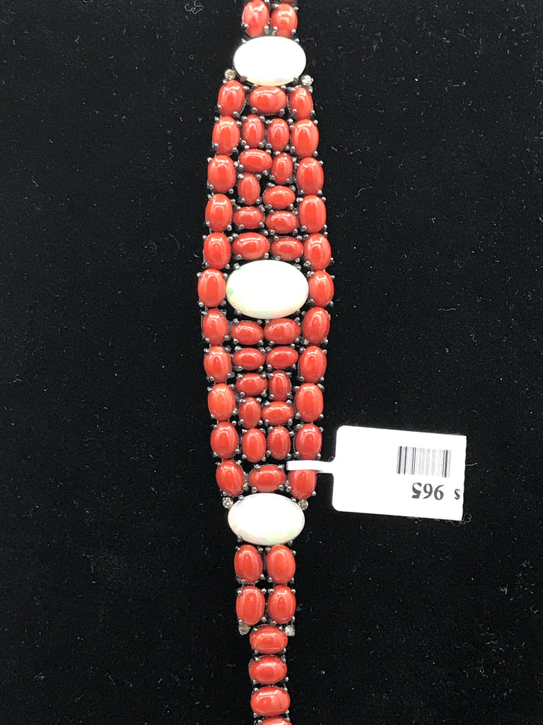 Coral Natural and Pink Coral with Diamond Bracelet
