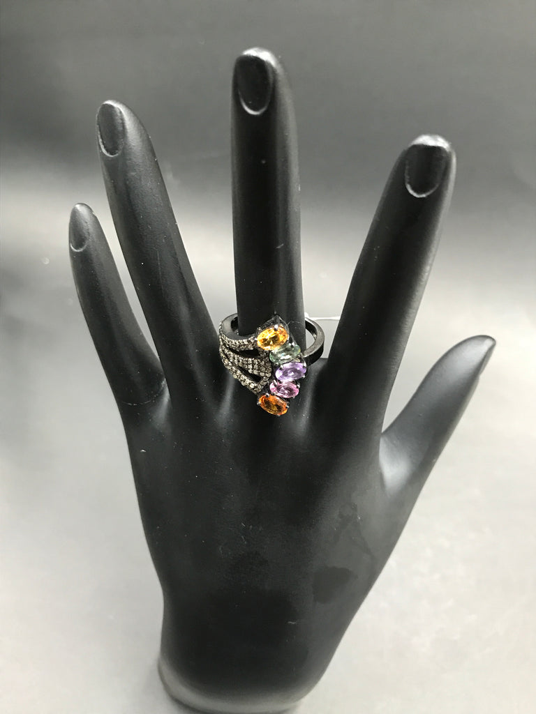 Diamond and Multi Sapphire Siver Black Rhodium Finish Rings