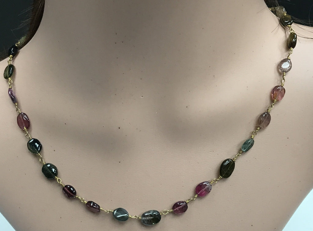 Tourmaline Multi colour beads oval smooth silver wire wrap necklace
