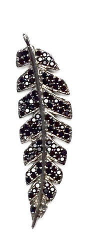 Leaf Black Spinel Charm