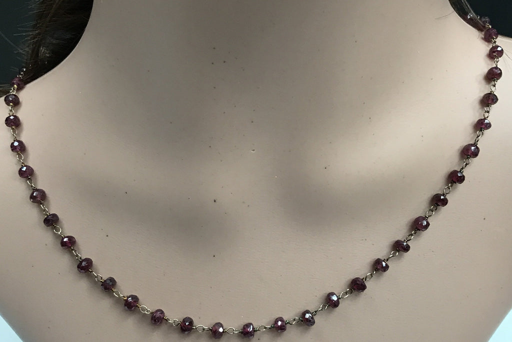 Garnet beads faceted rondelle 3-4mm silver wire wrap necklace