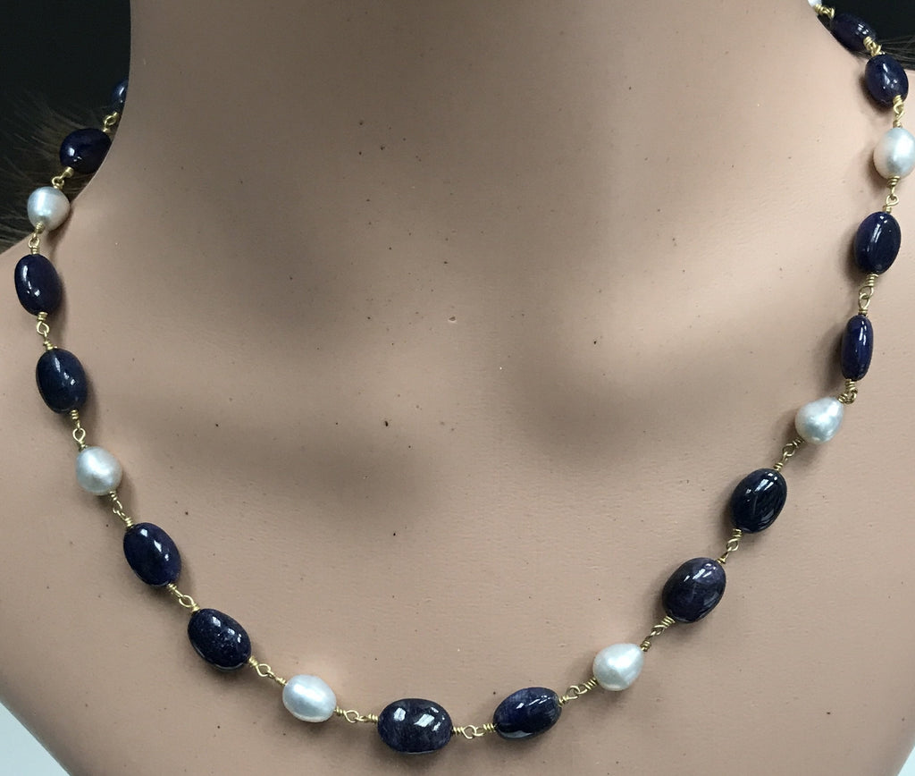 Pearl and Blue Sapphire smooth oval sterling silver rosary chain 18''