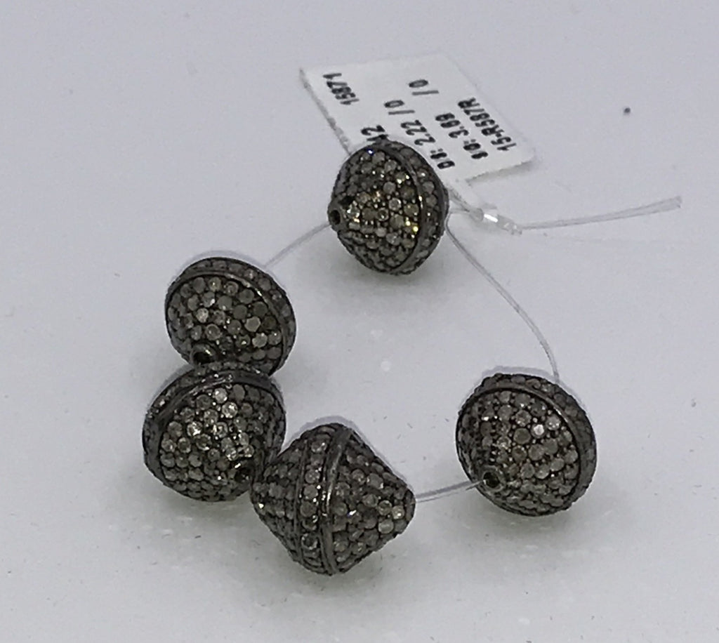 BICONE SHAPE DIAMOND PAVE BEADS