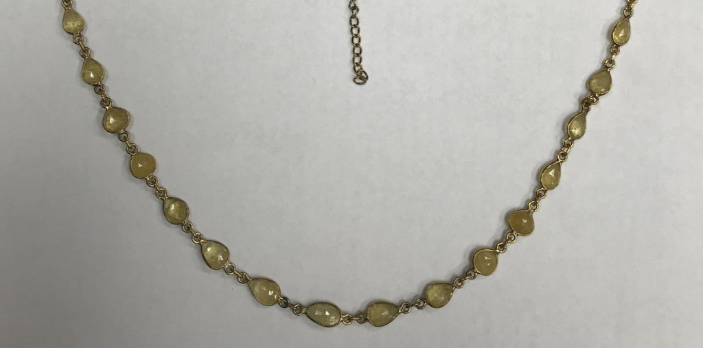 Aqumarine Yellow Natural Rosecut Flat Drop Sterling Silver Bezel Chain Necklace