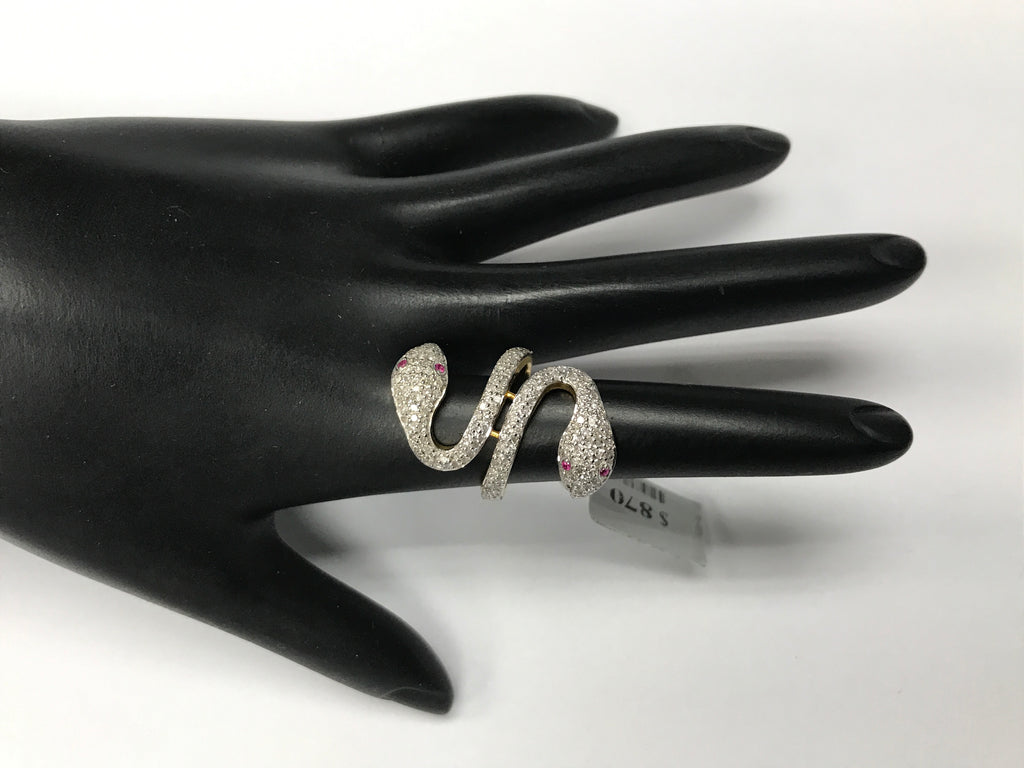 14k Solid Gold Snake Diamond Rings. Genuine handmade pave diamond Rings. Approx Size (28 x 18 mm)