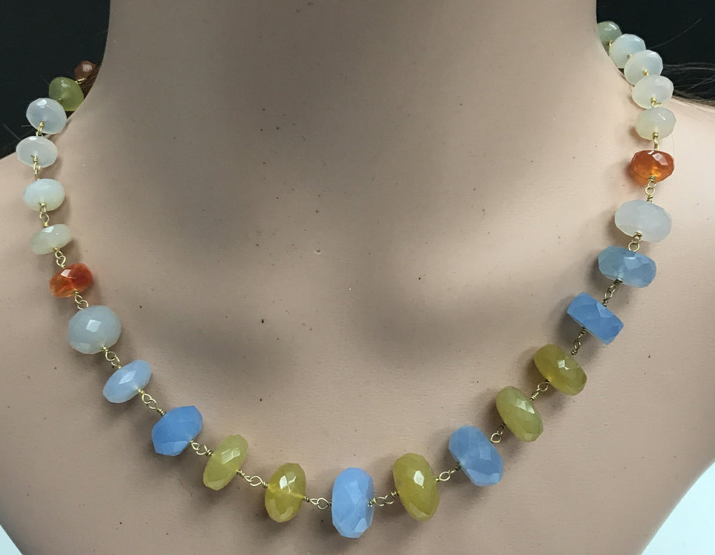 Chalcdony Treated Mix colour faceted beads rondelle sterling silver wire wrap necklace