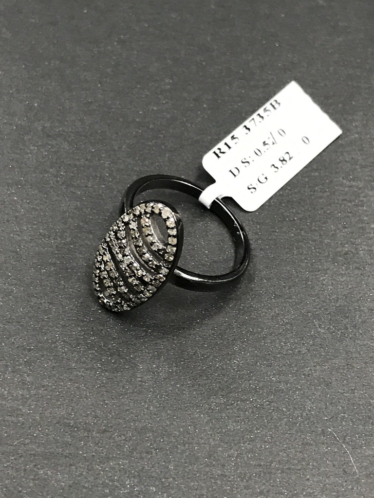 "Pave Diamond Ring .925 Oxidized Sterling Silver Diamond Ring, Genuine handmade pave diamond Ring Size Approx 0.84""(11 x 21 MM)"