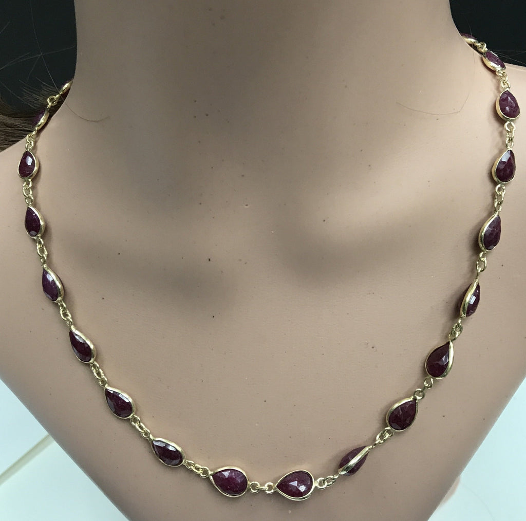 Ruby Corundum Cut  Oval Sterling Silver Bezel Chain Necklace