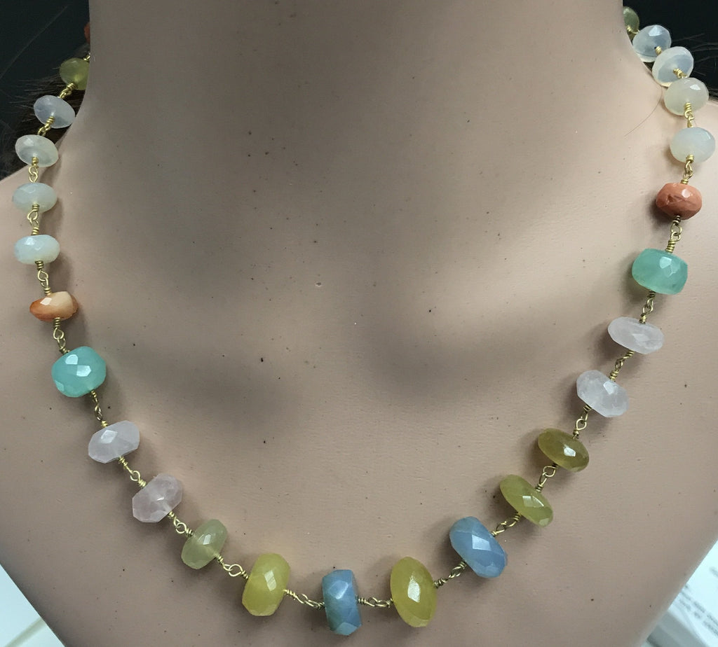 Chalcdony Treated Beads faceted rondelle wire wrap necklace