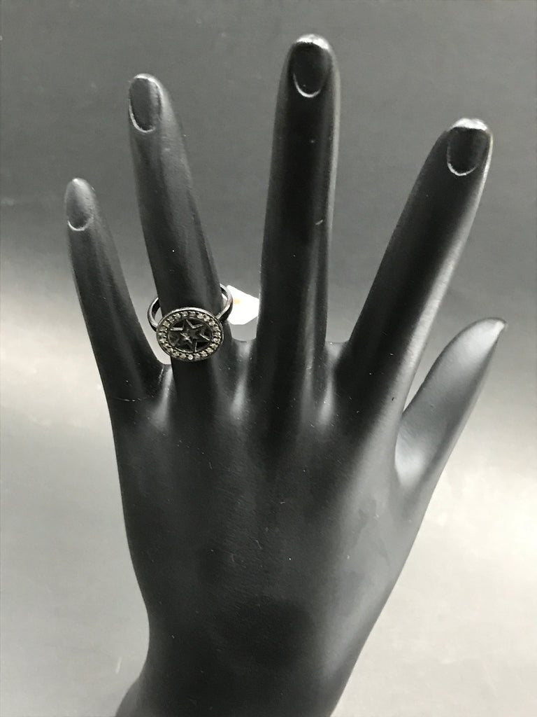 Diamond and Silver Black Rhodium Finish Ring