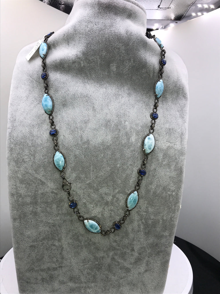 LARIMAR AND DIAMOND DESIGNER LONG NECKLACE