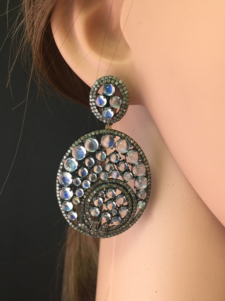 MOONSTONE AND DIAMOND EARRING