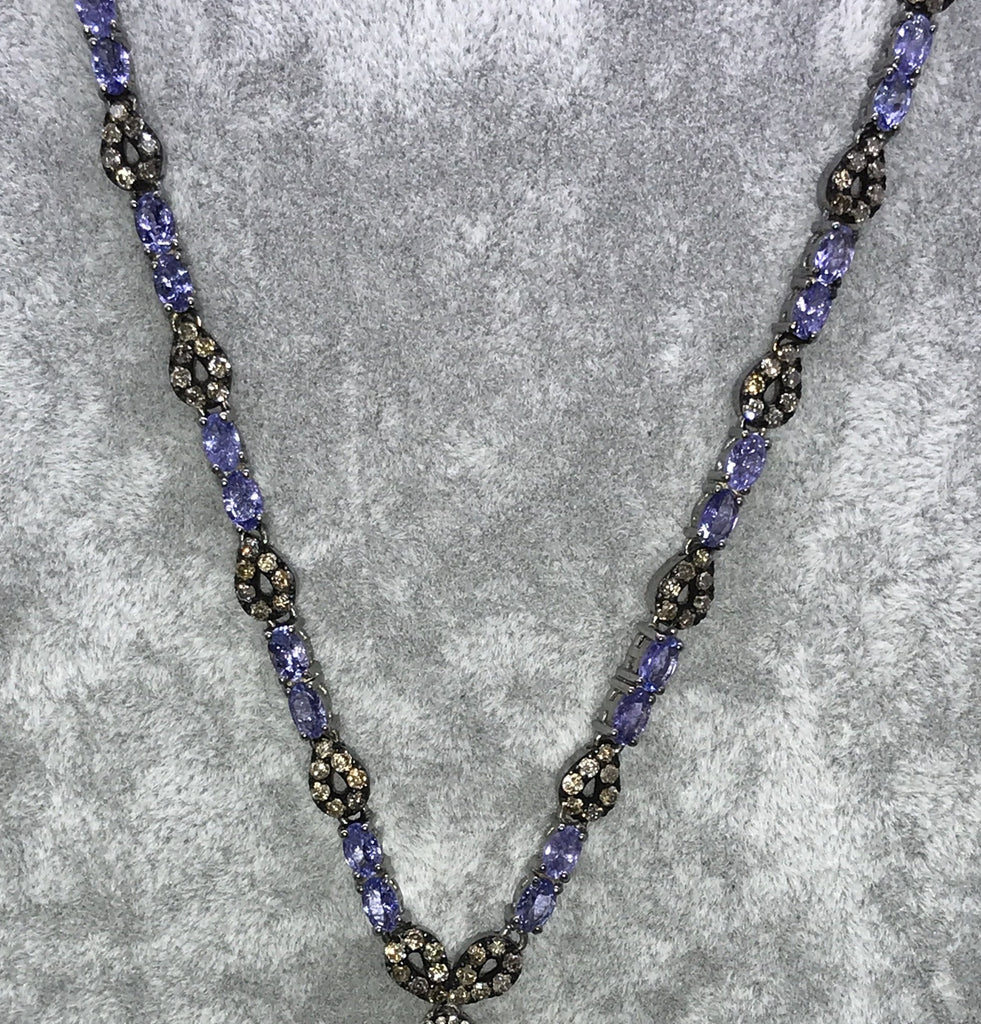 Tanzanite and Diamond Designer long Necklace