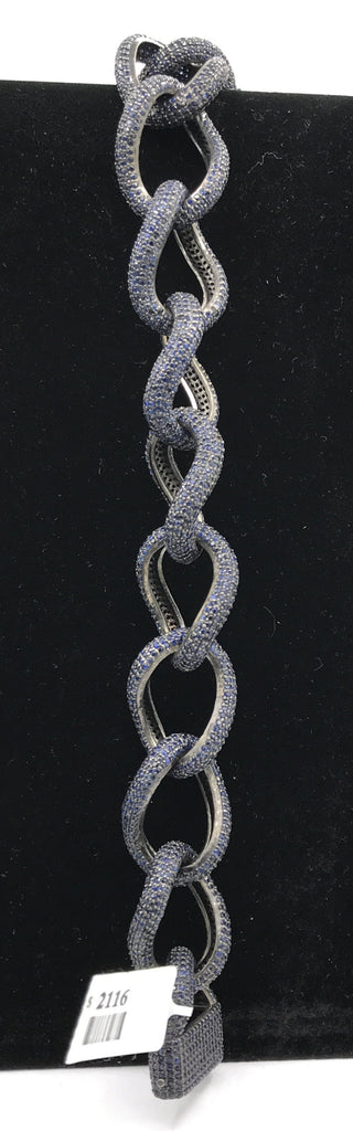 Blue sapphire natural over sterling silver link chain Bracelet