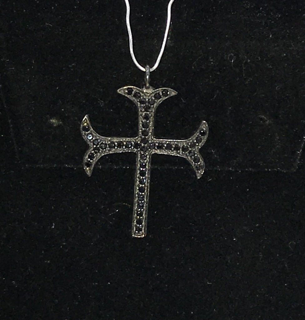 Black Spinel Sterling Silver Cross Charm