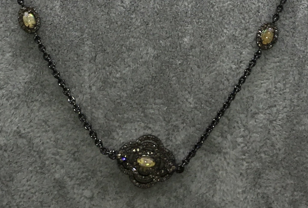Opal and Diamond Designer long Chain Necklace