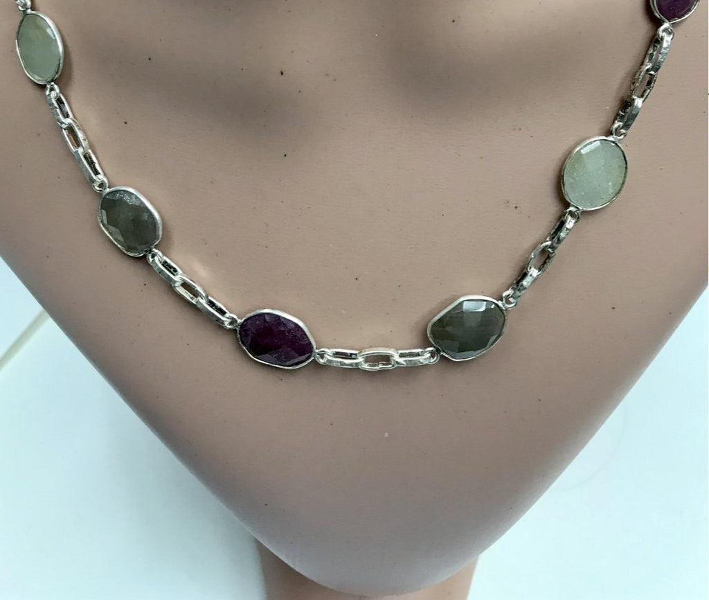 Sapphire Natural rosecut fancy shape sterling silver bezel chain necklace