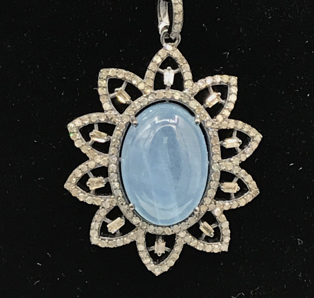 Aquamarine Natural oval cabs smooth with Diamond over Sterling Silver natural Pendant