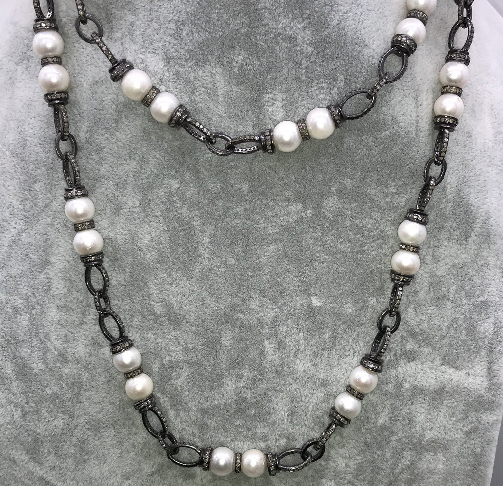 Diamond and Pearl Chain Link Necklace