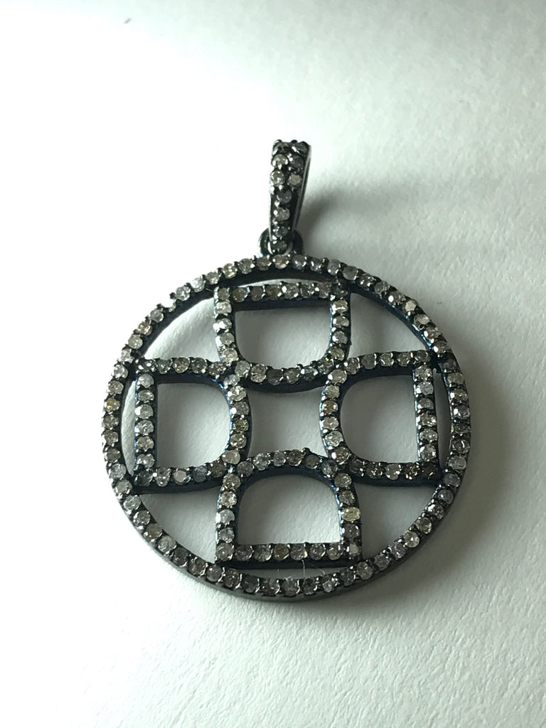 ROUND INITIAL DIAMOND CHARMS PENDANTS