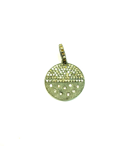 Round Shape Silver Pave Diamond Pendant .925 Oxidized Sterling Silver Diamond Pendant, Genuine handmade pave diamond Pendant Size 18 MM