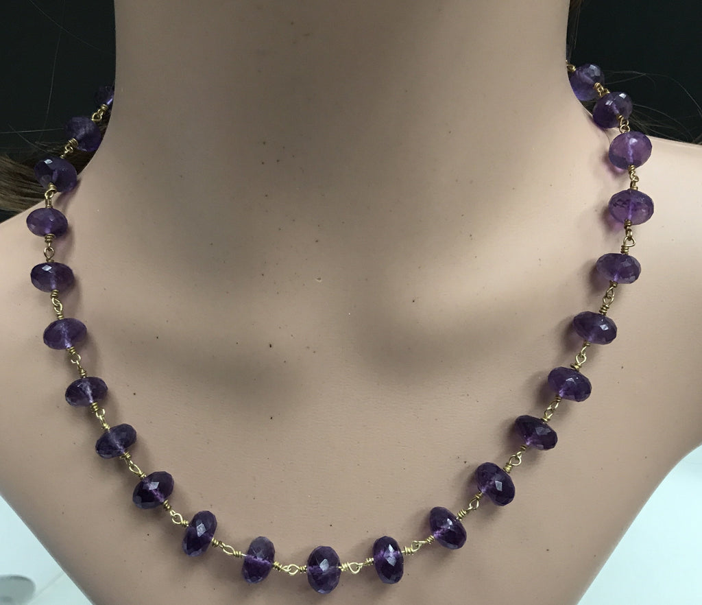 Natural Amethyst Beads Faceted Rondelle Sterling Silver Wire Wrap Necklace