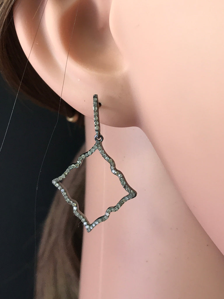"Diamond Silver Earring .925 Oxidized Sterling Silver Diamond Earring, Genuine handmade pave diamond Earring Size 1.60""(24 x 40 MM )"