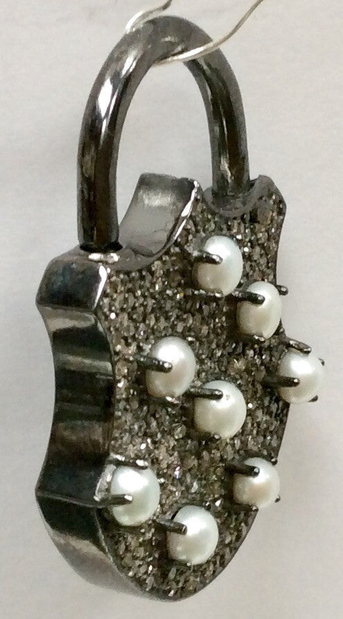 Lock with Pearl Diamond Charm
