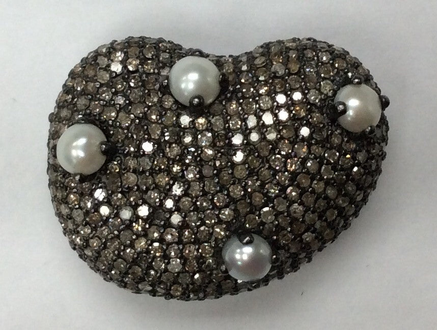 Nugget Shaped Diamond Pave Beads.