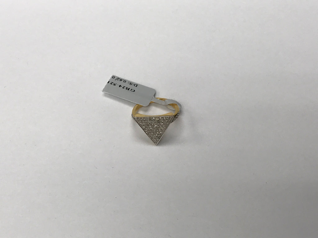 14k solid Gold Triangle Shape Diamond Rings. Genuine handmade pave diamond Rings. Approx Size (16 x 17 mm)