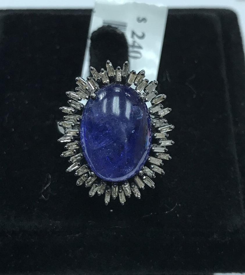 Tanzanite Oval Cabs Smooth Sterling Silver Diamond Ring