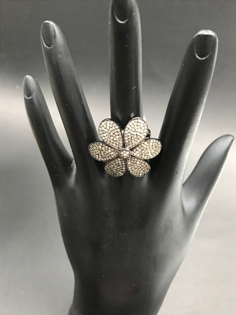 Diamond  Flower Diamond Ring, Pave Diamond Ring, Pave Flower Ring, Approx 29 x 29mm. Sterling Silver