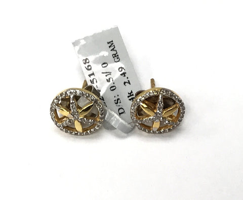 14k Solid Gold Flower Diamond Earrings . Genuine handmade pave diamond Earrings .
