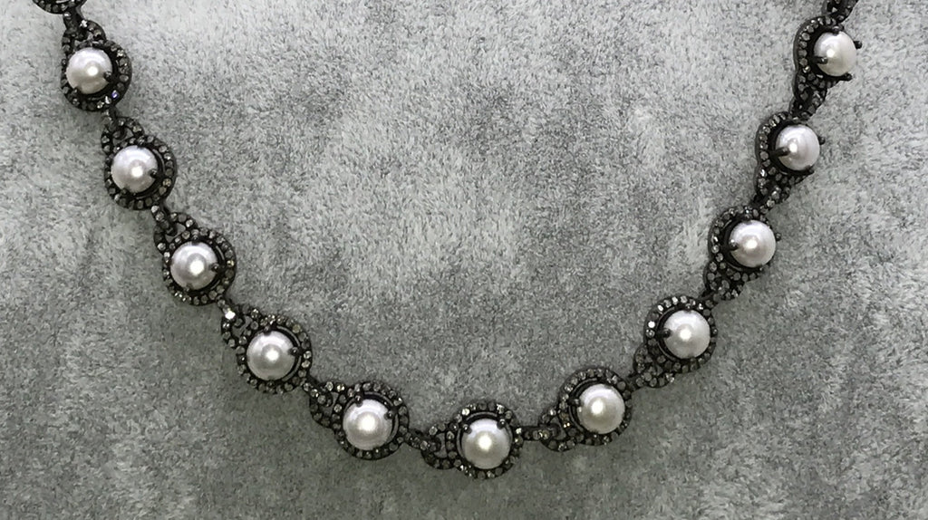 Pearls and Diamond Link Chain Necklace