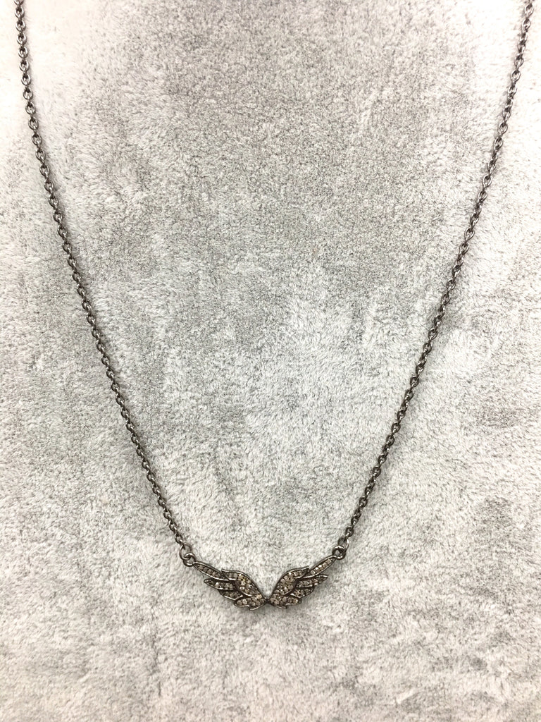 Angel Wing Pave Diamond Necklace with Silver Chain