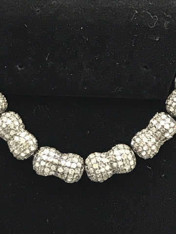 Bicone Shape pave diamond Beads