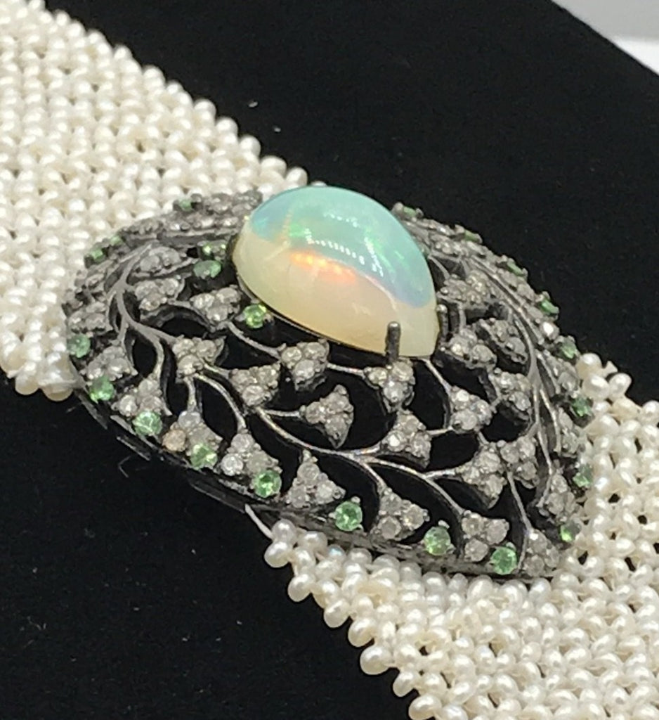 Opal and Diamond Designer Bracelet with Pearl Woven