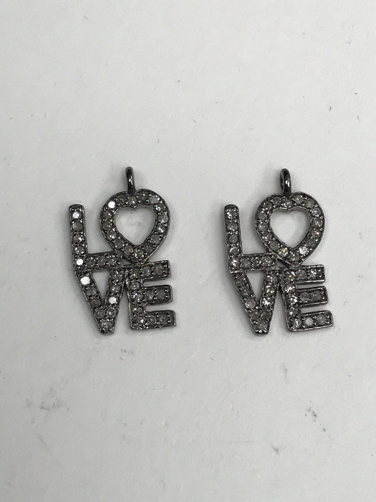 "Love Diamond Charm .925 Oxidized Sterling Silver Diamond Charms, Genuine handmade pave diamond Charm Size Approx 1.12""(22 x 28 MM)"