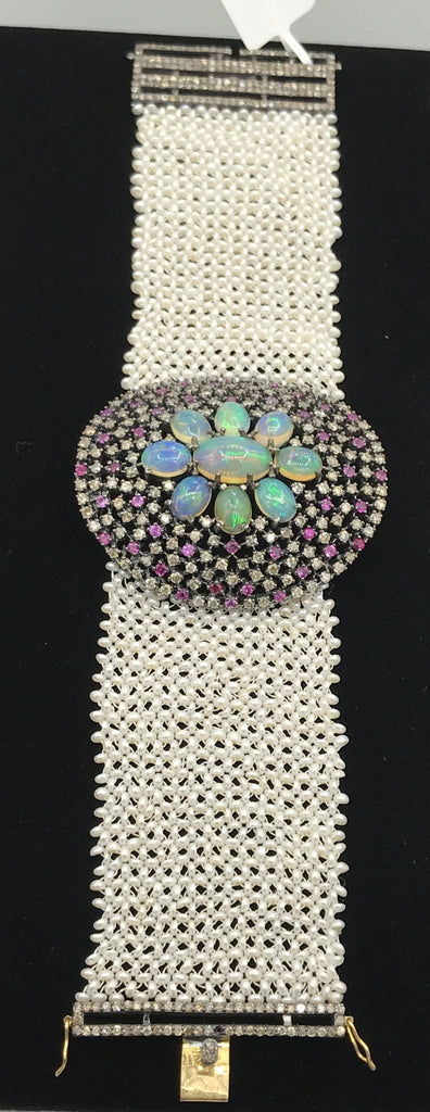 Opal and Diamond Designer Bracelet Pearl Woven