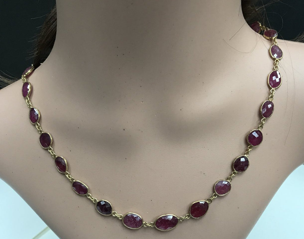 Ruby Dyed Rosecut Oval Sterling Silver Bezel Chain Necklace
