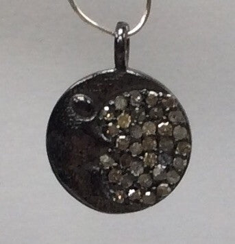 Moon Disc Diamond Charm.925 Oxidized Sterling Silver Diamond Charm, Genuine handmade pave diamond Charm  Size 12 MM