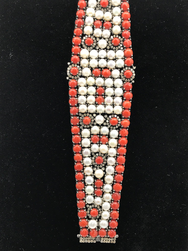 Coral Natural and Pearl with Diamond Bracelet