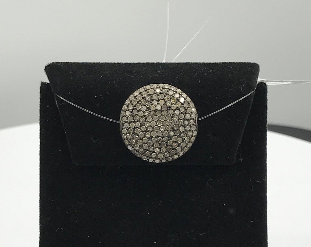 Coin shape pave beads