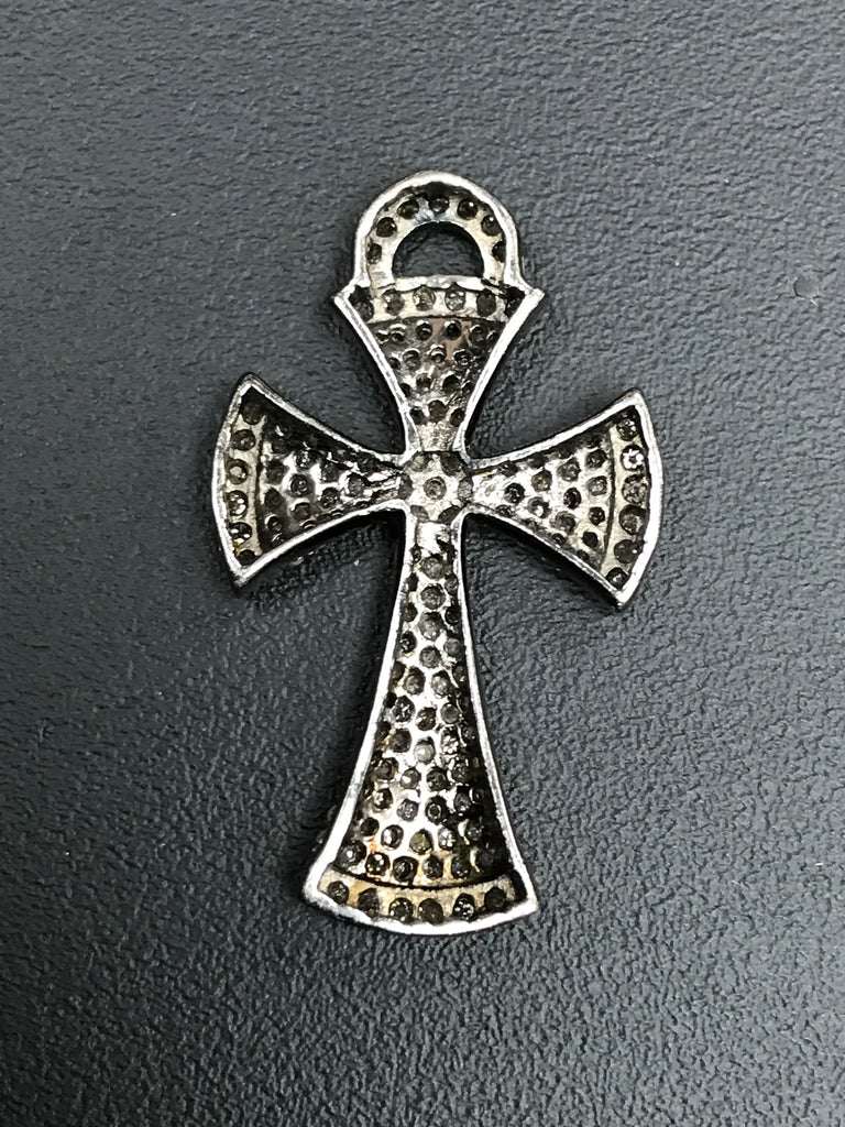 Pave Diamond Pendant, Pavé Cross Pendant, Diamond Cross Pendant, Pave Cross Charm, Approx 1.28''19 x 32mm) Oxidized Silver