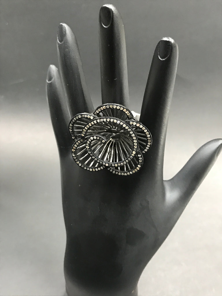 "Flower Pave Diamond Ring .925 Oxidized Sterling Silver Diamond Ring, Genuine handmade pave diamond Ring Size Approx 1.52""(38 x 38 MM)"