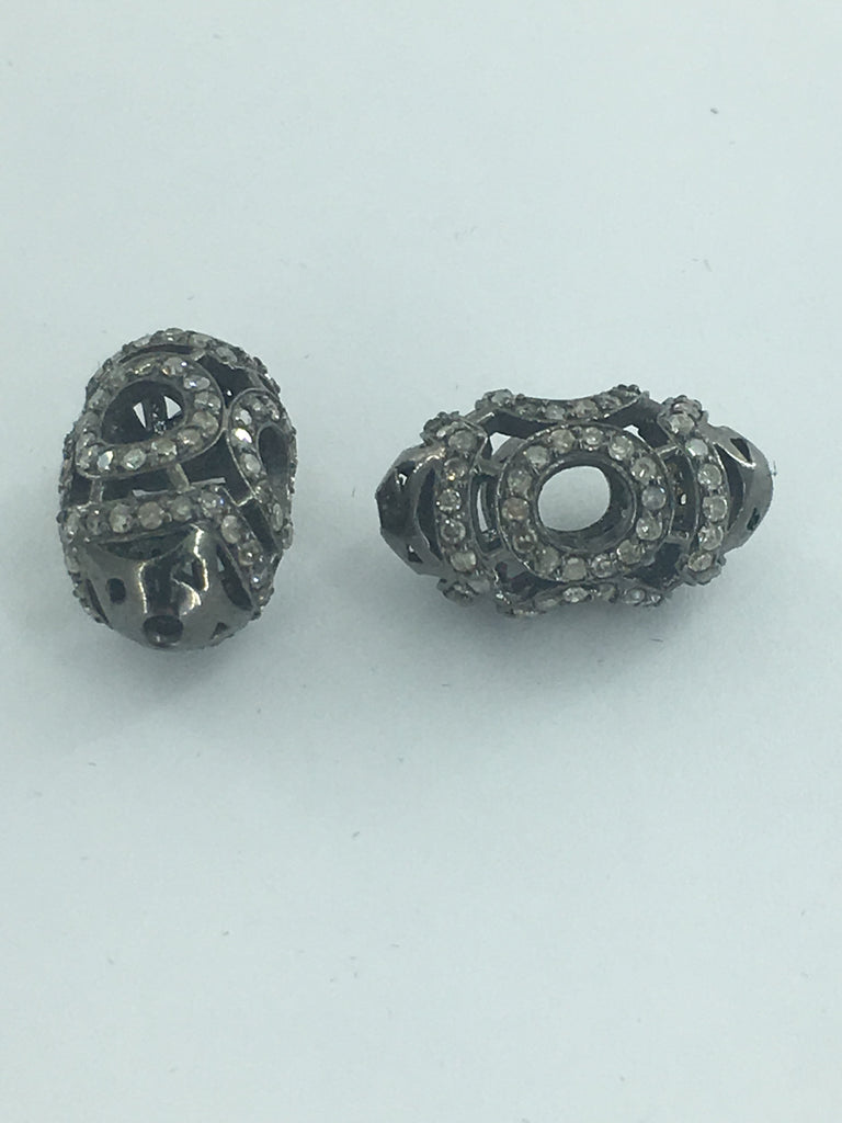 Long Cylinder Shape Filgree Design Silver Pave Diamond Beads