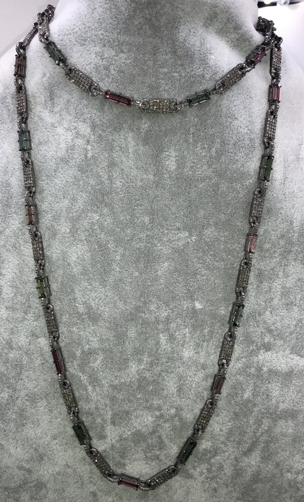 Tourmaline and Diamond Link Chain Necklace