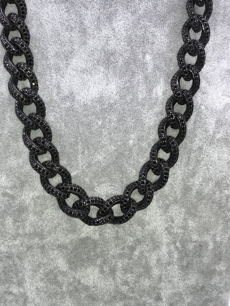 Black Spinel Link Chain Necklace