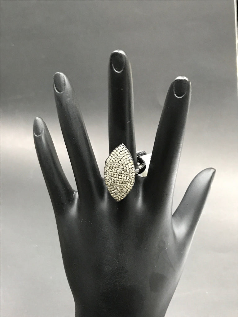 "Pave Diamond Ring .925 Oxidized Sterling Silver Diamond Ring, Genuine handmade pave diamond Ring Size Approx 1.16""(14 x 29 MM)"