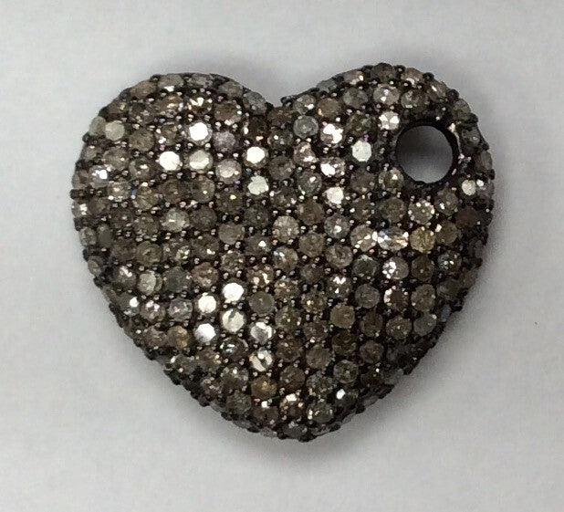 "Heart Diamond Charm .925 Oxidized Sterling Silver Diamond Charms, Genuine handmade pave diamond Charm Size Approx 0.80""(18 x 20 MM)"